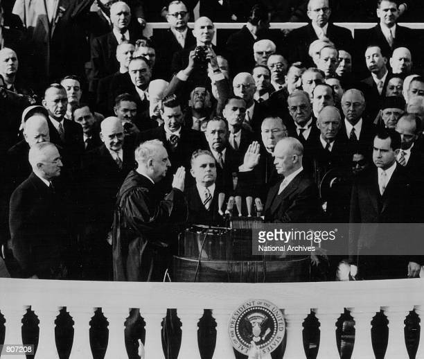 Dwight D Eisenhower takes the Oath of Office as the President of the United States during his Inauguration January 20 1953 in Washington DC Also...