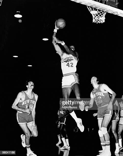 Dwight Davis of the Cleveland Cavaliers shoots a jump hookshot against the New York Knicks during an NBA game circa 1972 in Cleveland Ohio NOTE TO...