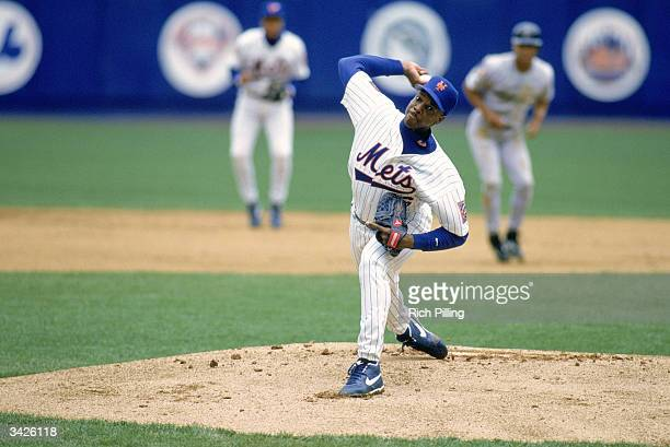 Dwight Doc Gooden of the New York Mets on the mound during a 1994 season game at Shea Stadium in Flushing New York