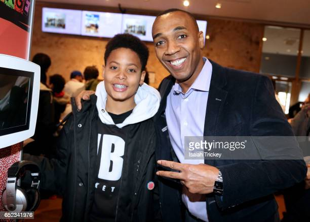 Dwight Drummond of CBC News Toronto and Jaaziah attend the Academy of Canadian Cinema and Television's Family Fan Day 2017 at the Sony Centre For...