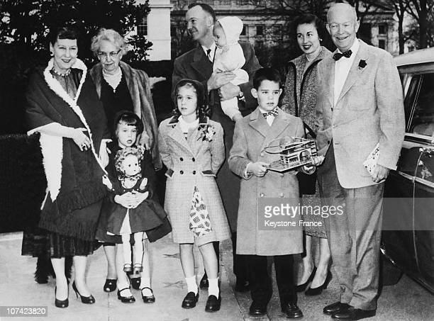 Dwight Eisenhower And His Family At White House In Washington On December 29Th 1956