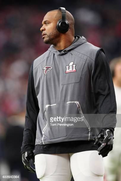 Dwight Freeney of the Atlanta Falcons looks on prior to Super Bowl 51 against the New England Patriots at NRG Stadium on February 5 2017 in Houston...
