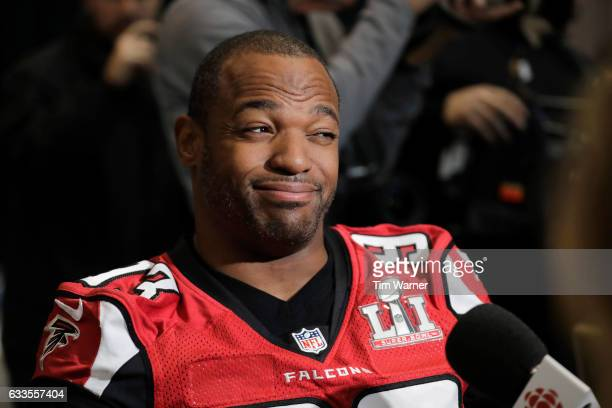 Dwight Freeney of the Atlanta Falcons reacts to a question during the Super Bowl LI press conference on February 2 2017 in Houston Texas