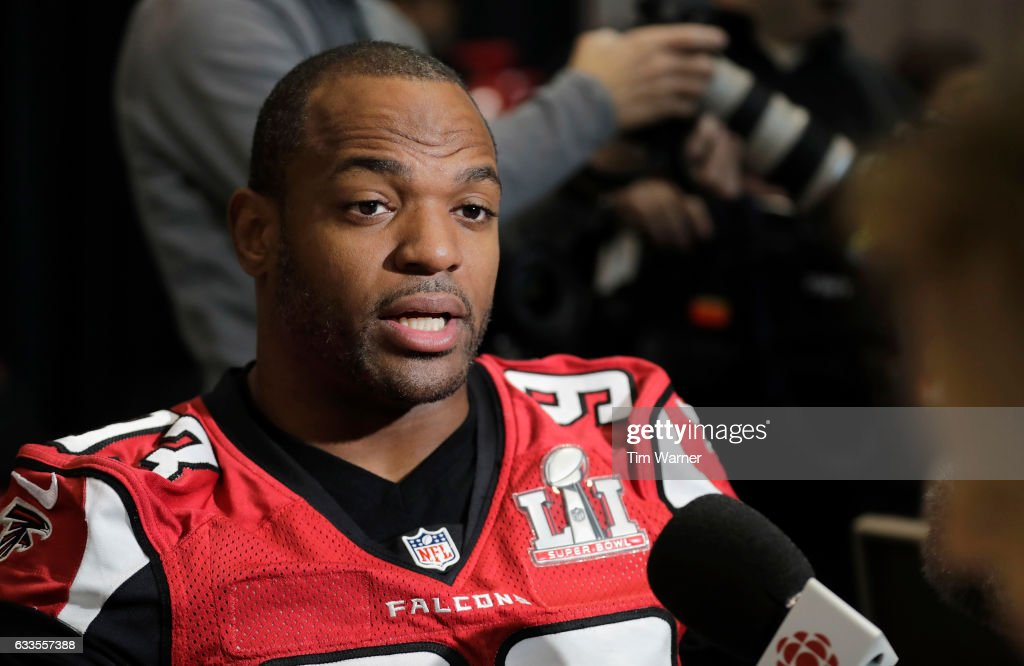 Dwight Freeney #93 of the Atlanta Falcons speaks with the media during the Super Bowl LI press conference on February 2, 2017 in Houston, Texas.