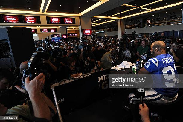 Dwight Freeney of the Indianapolis Colts speaks to members of the media during Super Bowl XLIV Media Day at Sun Life Stadium on February 2 2010 in...