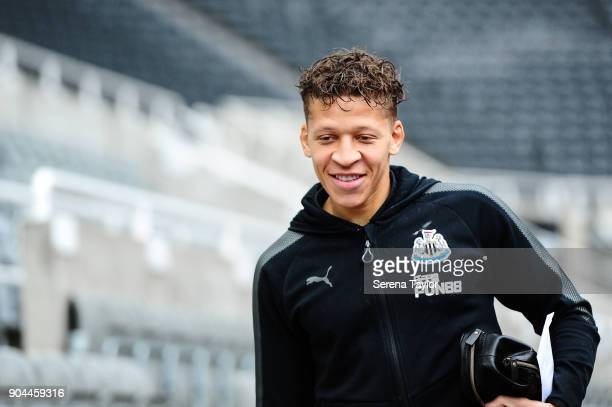 Dwight Gale of Newcastle United arrives for the Premier League match between Newcastle United and Swansea City at StJames' Park on January 13 in...