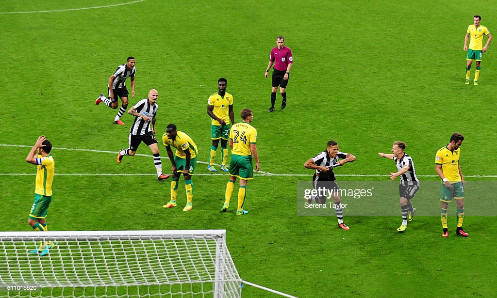 Dwight Gale of Newcastle United (09) celebrates after he scores Newcastle's fourth and winning goal during the Sky Bet Championship match between Newcastle United and Norwich City at St.James' Park on September 28, 2016 in Newcastle upon Tyne, England.