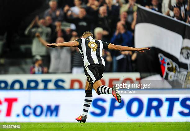 Dwight Gale of Newcastle United celebrates after scoring Newcastle's third goal from a free kick during the Sky Bet Championship match between...