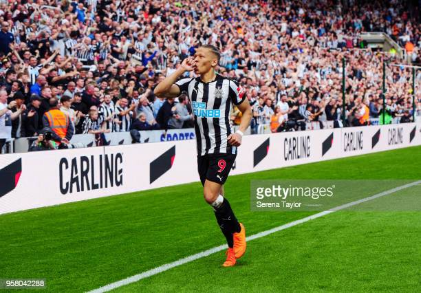 Dwight Gale of Newcastle United celebrates after scoring the opening goal during the Premier League Match between Newcastle United and Chelsea at...