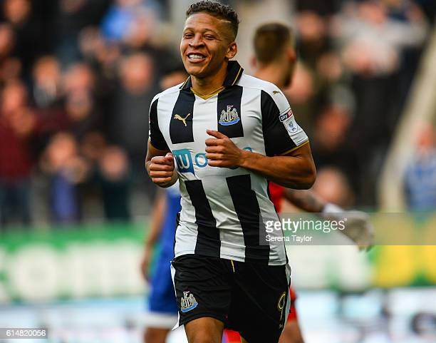Dwight Gale of Newcastle United celebrates after scoring the third Newcastle goal during the Sky Bet Championship Match between Newcastle United and...