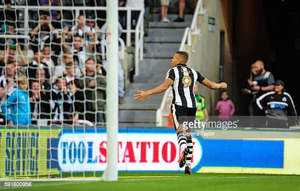 Dwight Gale of Newcastle United celebrates scoring before his goal is disallowed during the Sky Bet Championship match between Newcastle United and...