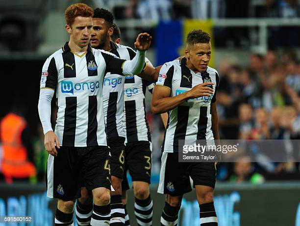 Dwight Gale of Newcastle United celebrates with teammates seen LR Jack Colback and Jamaal Lascelles after scoring Newcastle's fourth goal from a free...