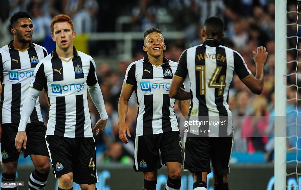 Dwight Gale of Newcastle United (09) looks to celebrate with Isaac Hayden (14) after scoring Newcastle's fourth goal from a free kick during the Sky Bet Championship match between Newcastle United and Reading at St.James' Park on August 17, 2016, in Newcastle upon Tyne, England.
