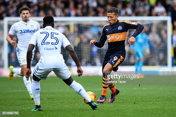 Dwight Gale of Newcastle United passes the ball during the Sky Bet Championship Match between Leeds United and Newcastle United at Elland Road on...