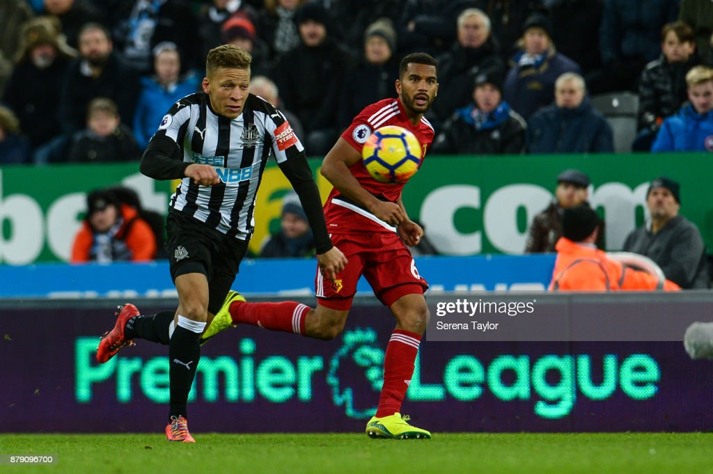 Dwight Gale of Newcastle United (09) runs with the ball during the Premier League match between Newcastle United and Watford F.C. at St.James' Park on November 25, 2017, in Newcastle upon Tyne, England.