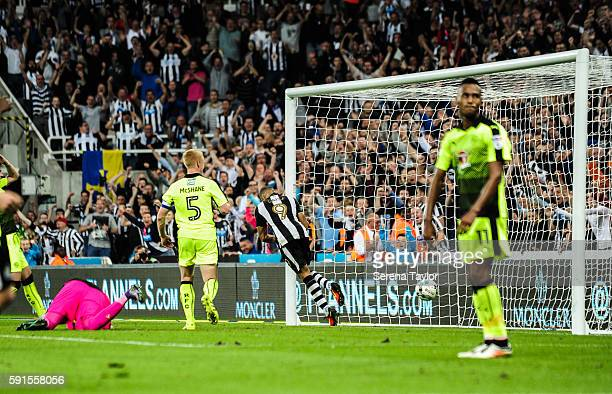 Dwight Gale of Newcastle United scores Newcastle's fourth goal from a free kick during the Sky Bet Championship match between Newcastle United and...