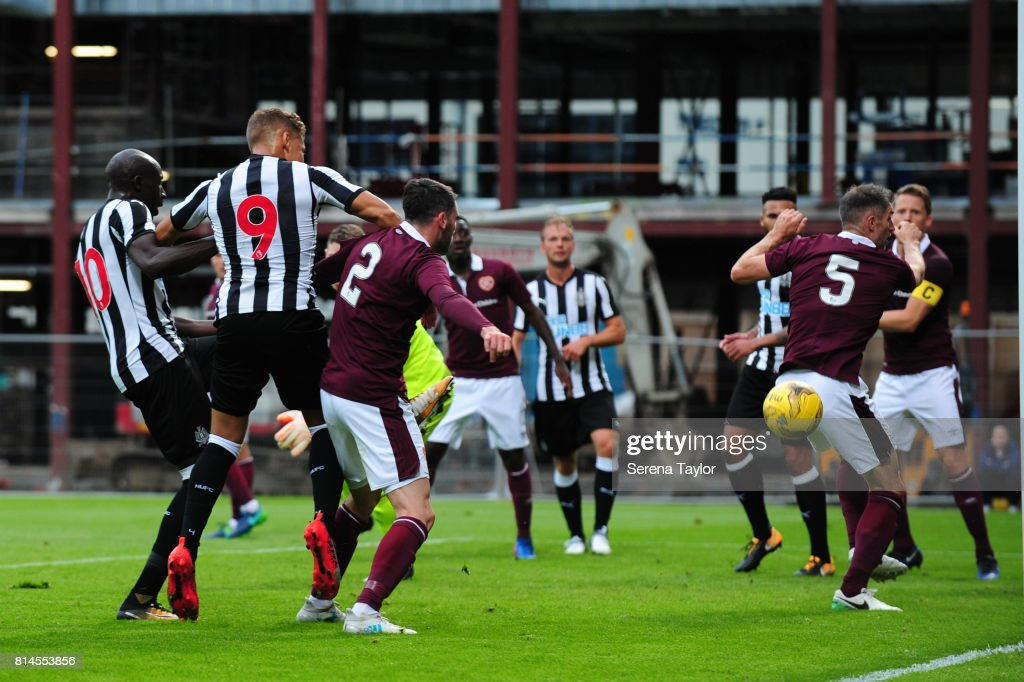 Dwight Gale of Newcastle United (9) scores Newcastles second goal during the Pre-Season Friendly between Heart of Midlothian and Newcastle United at the Tynecastle Stadium on July 14, 2017, in Edinburgh, Scotland.