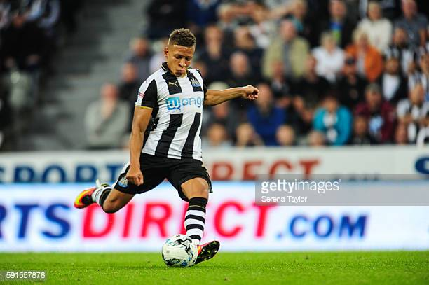 Dwight Gale of Newcastle United scores Newcastle's third goal from a free kick during the Sky Bet Championship match between Newcastle United and...