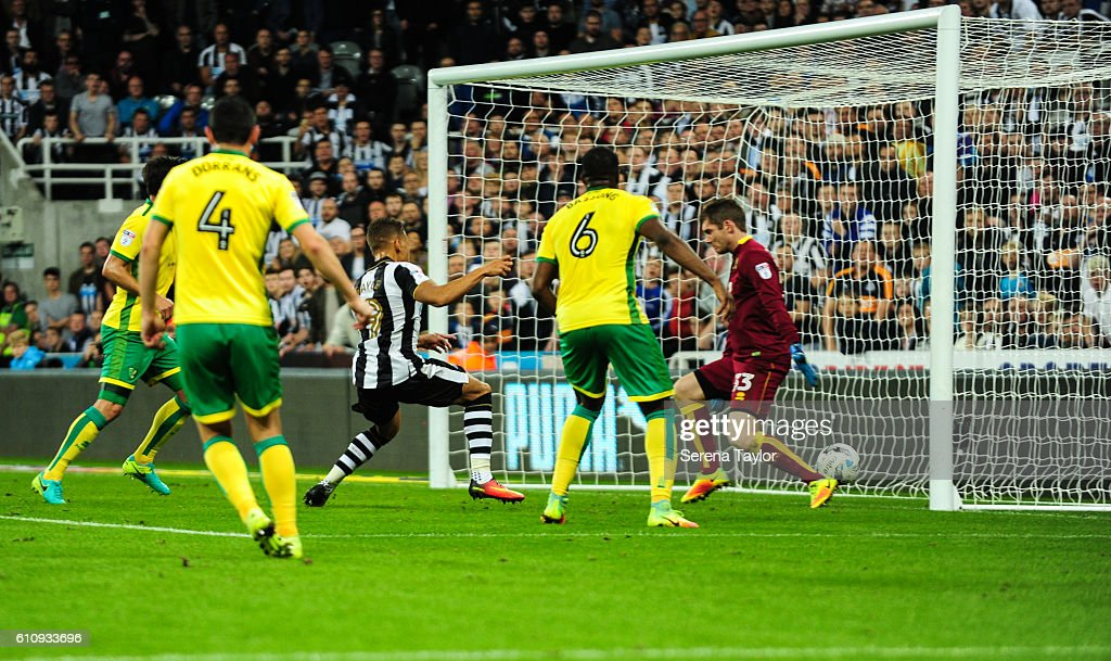 Dwight Gale of Newcastle United (09) scores the opening goal during the Sky Bet Championship match between Newcastle United and Norwich City at St.James' Park on September 28, 2016 in Newcastle upon Tyne, England.