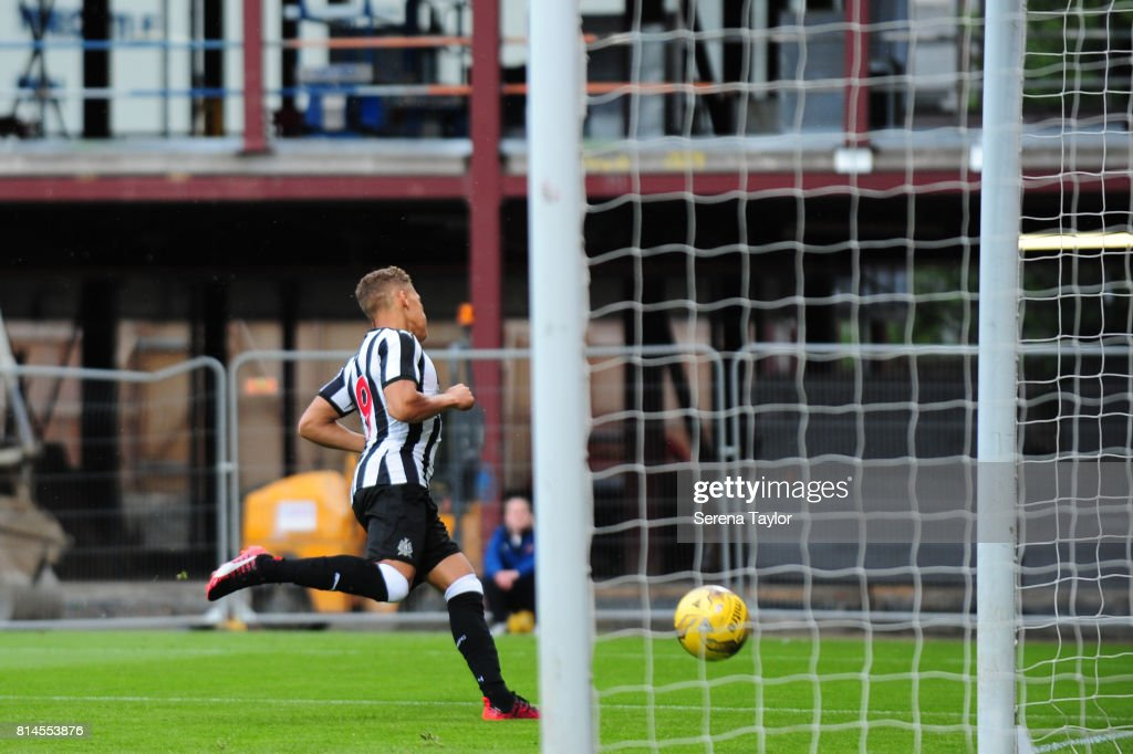 Dwight Gale of Newcastle United scores the opening goal during the Pre-Season Friendly between Heart of Midlothian and Newcastle United at the Tynecastle Stadium on July 14, 2017, in Edinburgh, Scotland.