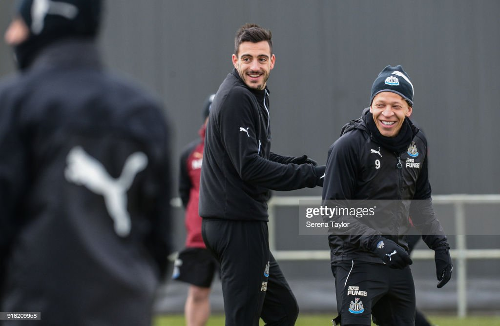 Dwight Gayle (R) and Joselu (L) smiles during the Newcastle United Training session at The Newcastle United Training Centre on February 14, 2018, in Newcastle upon Tyne, England.