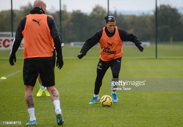 Dwight Gayle controls the ball during the Newcastle United Training Session at the Newcastle United Training Centre on October 31, 2019 in Newcastle...