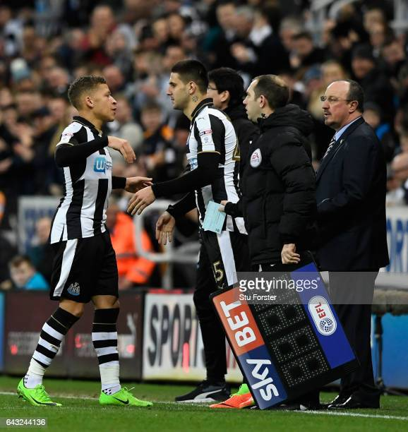 Dwight Gayle is substituted with an injury to be replaced by Aleksander Mitrovic during the Sky Bet Championship match between Newcastle United and...