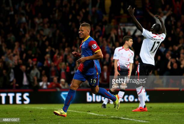 Dwight Gayle of Crystal Palace celebrates after scoring his team's third goal to level the scores at 33 during the Barclays Premier League match...