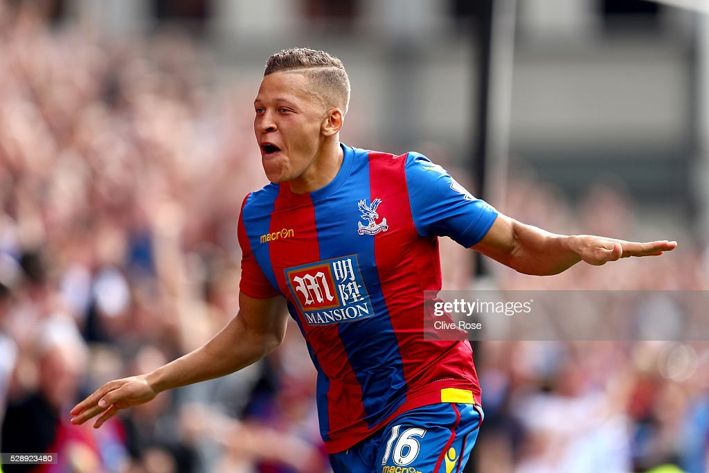 Dwight Gayle of Crystal Palace celebrates his goal during the Barclays Premier League match between Crystal Palace v Stoke City at Selhurst Park on May 7, 2016 in London.