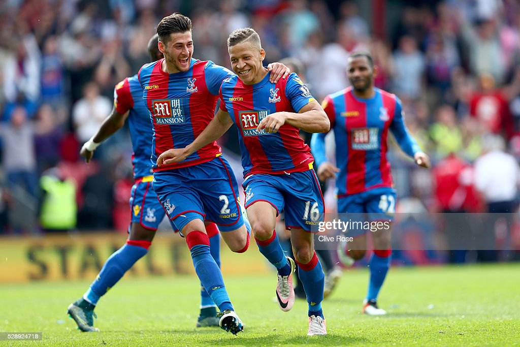 Dwight Gayle of Crystal Palace celebrates his second goal during the Barclays Premier League match between Crystal Palace v Stoke City at Selhurst Park on May 7, 2016 in London.