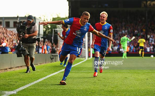 Dwight Gayle of Crystal Palace celebrates scoring his penalty during the Barclays Premier League match between Crystal Palace and Sunderland at...