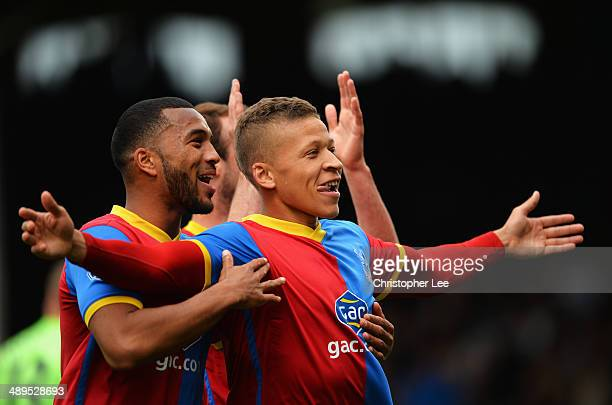 Dwight Gayle of Crystal Palace celebrates scoring his second goal during the Barclays Premier League match between Fulham and Crystal Palace at...