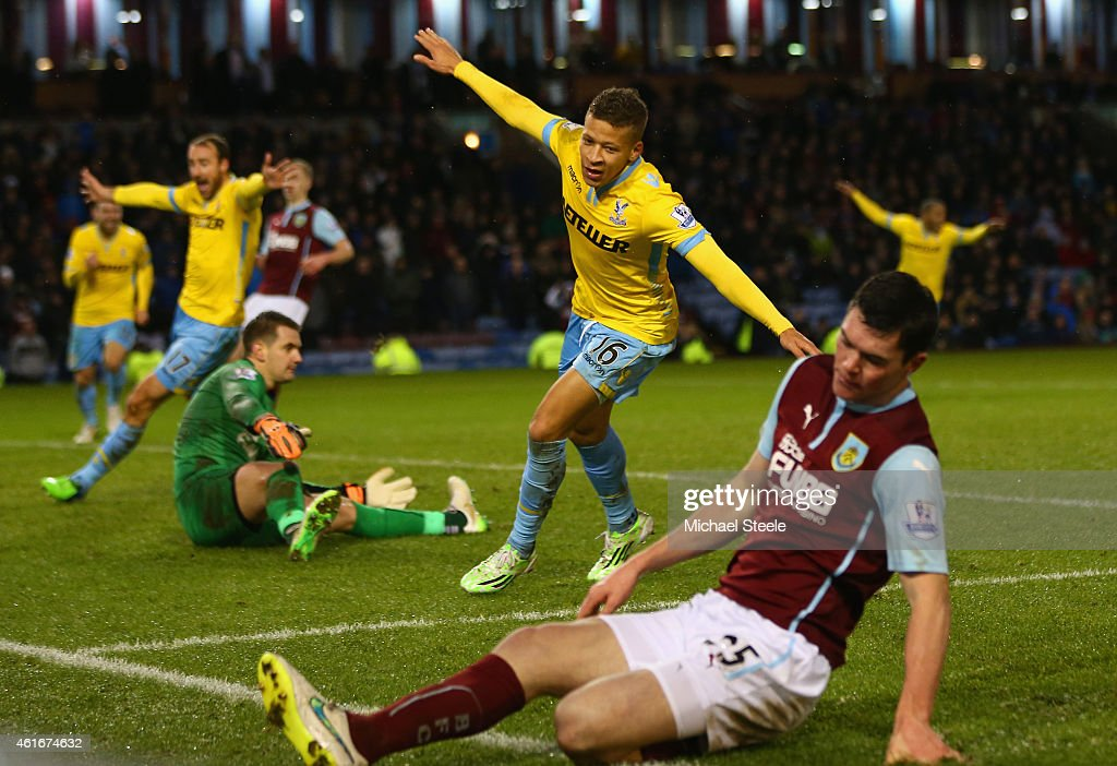 Dwight Gayle of Crystal Palace celebrates scoring their third goal during the Barclays Premier League match between Burnley and Crystal Palace at Turf Moor on January 17, 2015 in Burnley, England.