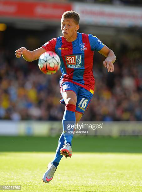 Dwight Gayle of Crystal Palace controls the ball during the Barclays Premier League match between Watford and Crystal Palace at Vicarage Road on...