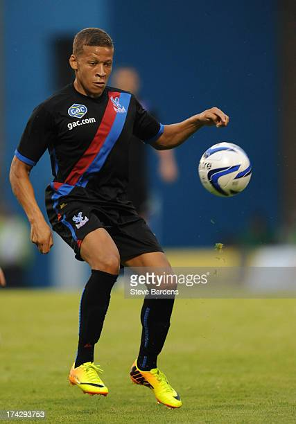 Dwight Gayle of Crystal Palace in action during the pre season friendly match between Gillingham and Crystal Palace at Priestfield Stadium on July 23...