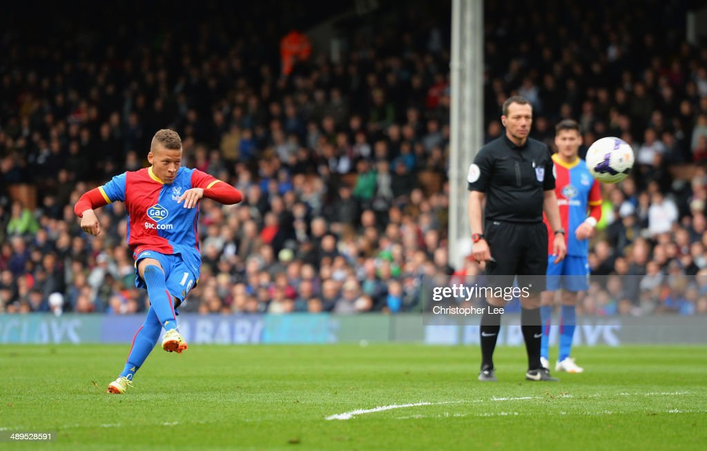 Dwight Gayle of Crystal Palace scores his second goal with a free kick during the Barclays Premier League match between Fulham and Crystal Palace at Craven Cottage on May 11, 2014 in London, England.