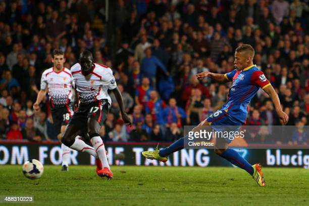 Dwight Gayle of Crystal Palace scores his team's third goal to level the scores at 33 during the Barclays Premier League match between Crystal Palace...