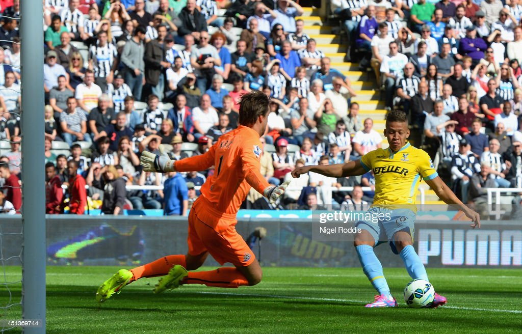 Dwight Gayle of Crystal Palace scores the opening goal past Tim Krul of Newcastle United during the Barclays Premier League match between Newcastle United and Crystal Palace at St James' Park on August 30, 2014 in Newcastle upon Tyne, England.