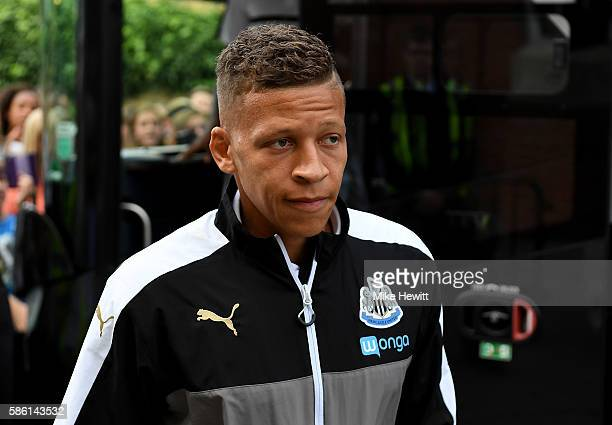 Dwight Gayle of Newcastle arrives at the ground ahead of the Sky Bet Championship match between Fulham and Newcastle United at Craven Cottage on...