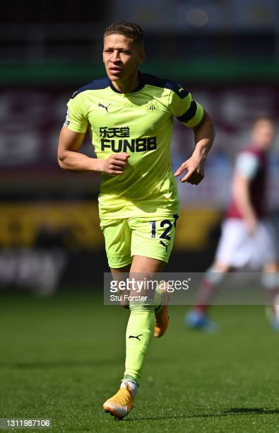 Dwight Gayle of Newcastle in action during the Premier League match between Burnley and Newcastle United at Turf Moor on April 11, 2021 in Burnley,...
