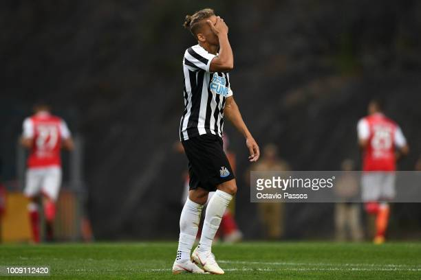 Dwight Gayle of Newcastle reacts after SC Braga scores the first goal during the Preseason friendly between SC Braga and Newcastle on August 1 2018...