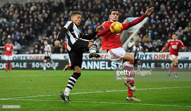 Dwight Gayle of Newcastle scores the second Newcastle goal during the Sky Bet Championship match between Newcastle United and Nottingham Forest at St...