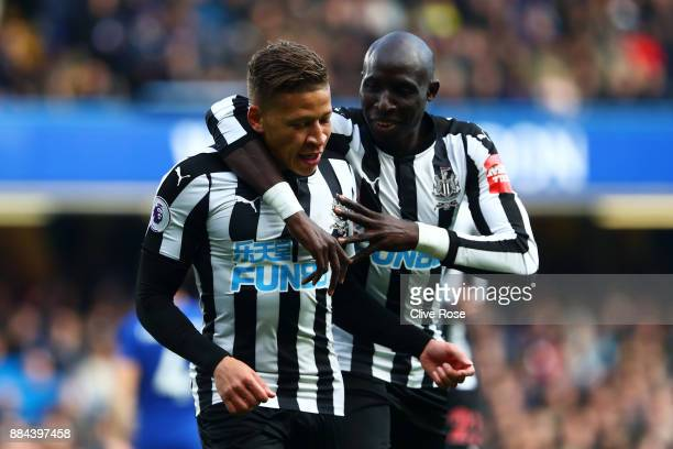 Dwight Gayle of Newcastle United celebrates after scoring his sides first goal with Mohamed Diame of Newcastle United during the Premier League match...