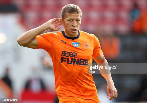 Dwight Gayle of Newcastle United celebrates after scoring his team's first goal during the Premier League match between AFC Bournemouth and Newcastle...