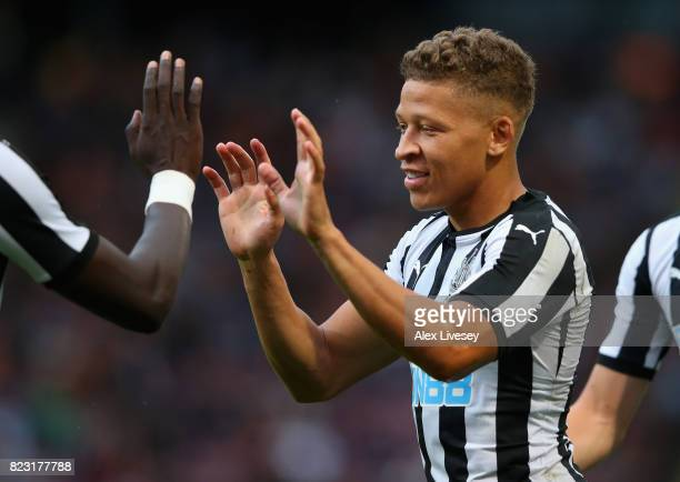 Dwight Gayle of Newcastle United celebrates after scoring the opening goal during a preseason friendly match between Bradford City and Newcastle...