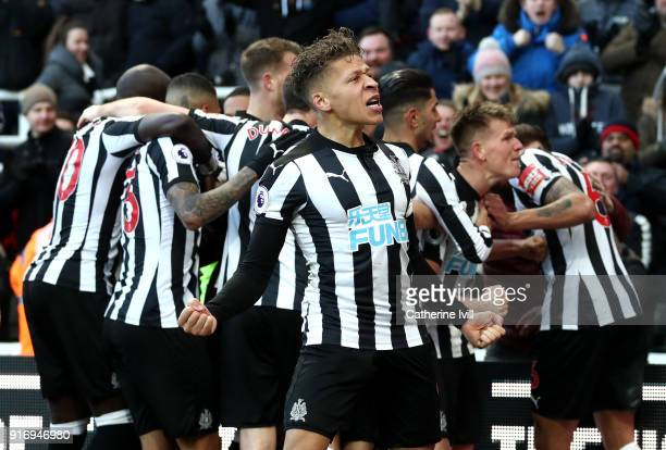 Dwight Gayle of Newcastle United celebrates his sides first goal during the Premier League match between Newcastle United and Manchester United at St...