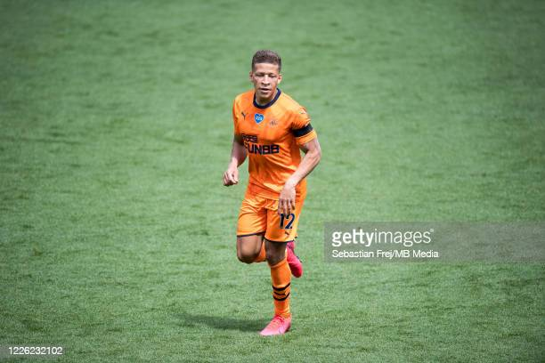 Dwight Gayle of Newcastle United during the Premier League match between Watford FC and Newcastle United at Vicarage Road on July 11 2020 in Watford...