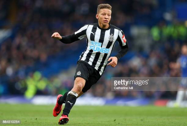 Dwight Gayle of Newcastle United during the Premier League match between Chelsea and Newcastle United at Stamford Bridge on December 2 2017 in London...
