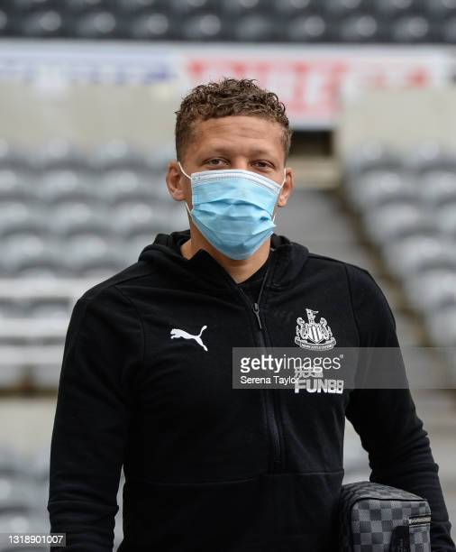 Dwight Gayle of Newcastle United FC arrives for the Premier League match between Newcastle United and Sheffield United at St. James Park on May 19,...
