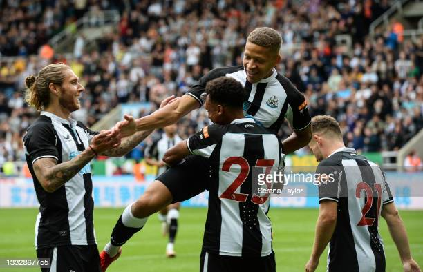Dwight Gayle of Newcastle United FC celebrates with teammates after he scores the second goal during the Pre Season Friendly between Newcastle United...